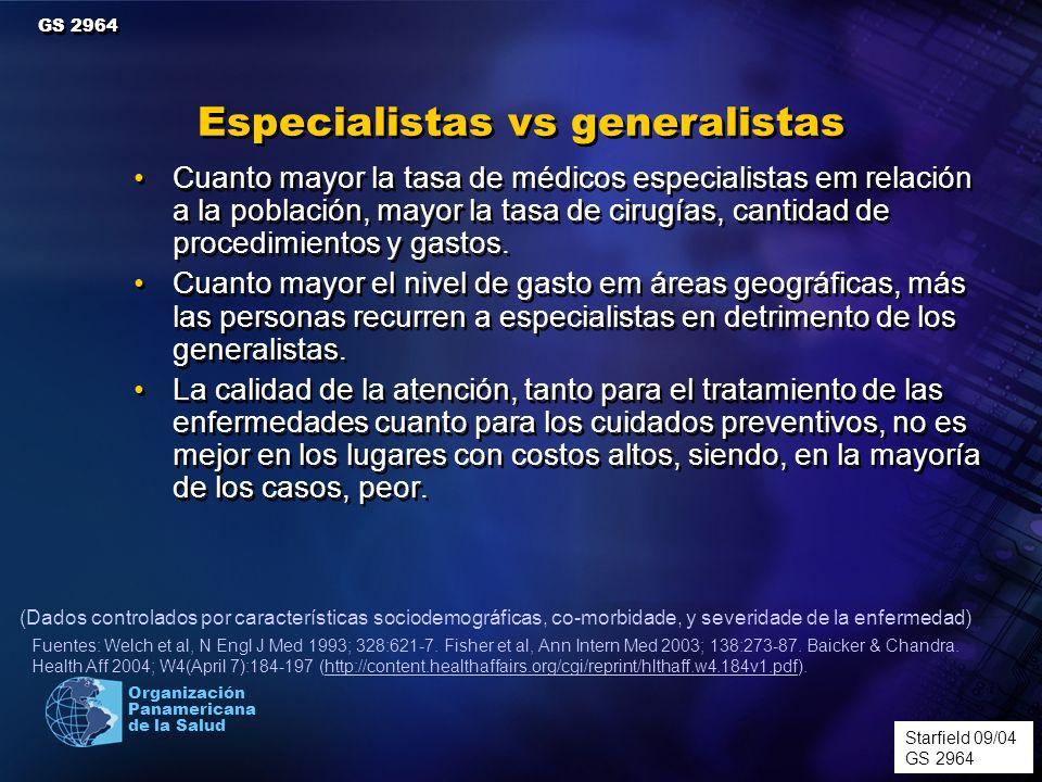 Organización Panamericana de la Salud Cuanto mayor la tasa de médicos especialistas em relación a la población, mayor la tasa de cirugías, cantidad de