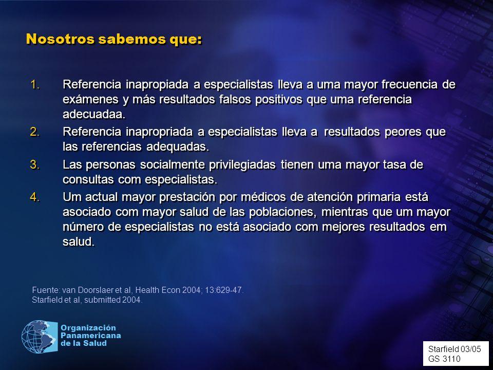 Organización Panamericana de la Salud Nosotros sabemos que: 1.Referencia inapropiada a especialistas lleva a uma mayor frecuencia de exámenes y más re