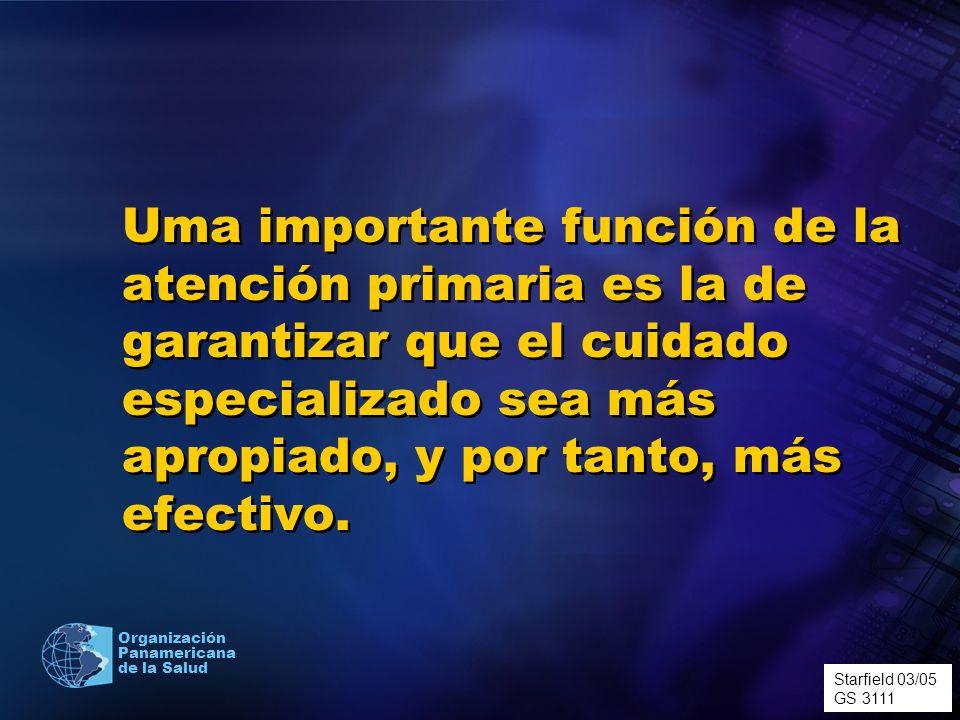 Organización Panamericana de la Salud Uma importante función de la atención primaria es la de garantizar que el cuidado especializado sea más apropiad