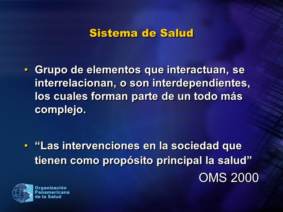 Organización Panamericana de la Salud Sistema de Salud Grupo de elementos que interactuan, se interrelacionan, o son interdependientes, los cuales for