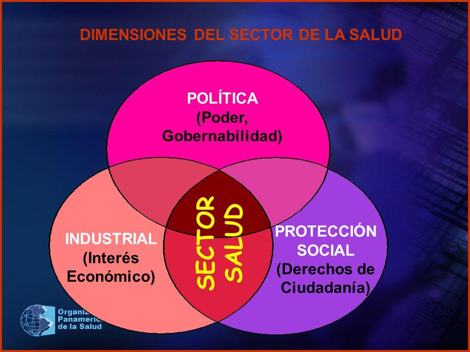 Organización Panamericana de la Salud DIMENSIONES DEL SECTOR DE LA SALUD SECTOR SALUD POLÍTICA (Poder, Gobernabilidad) INDUSTRIAL (Interés Económico)