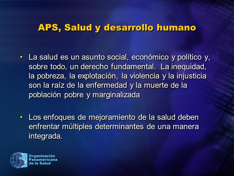 Organización Panamericana de la Salud APS, Salud y desarrollo humano La salud es un asunto social, económico y político y, sobre todo, un derecho fund