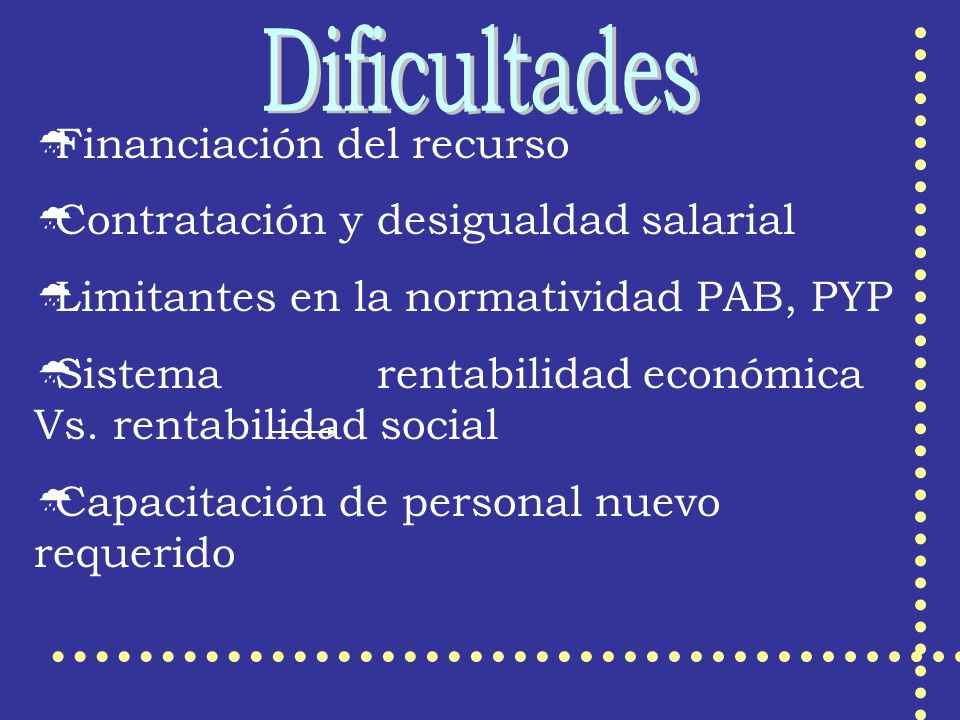 Financiación del recurso Contratación y desigualdad salarial Limitantes en la normatividad PAB, PYP Sistema rentabilidad económica Vs. rentabilidad so