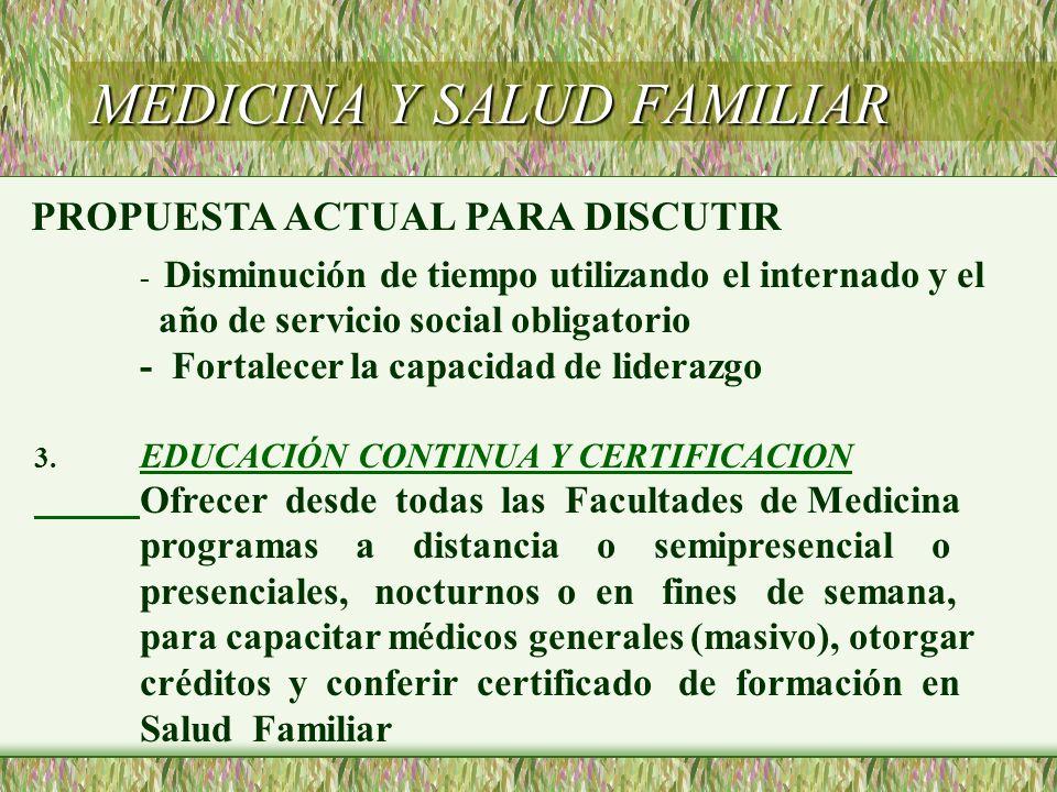 MEDICINA Y SALUD FAMILIAR - Disminución de tiempo utilizando el internado y el año de servicio social obligatorio - Fortalecer la capacidad de lideraz