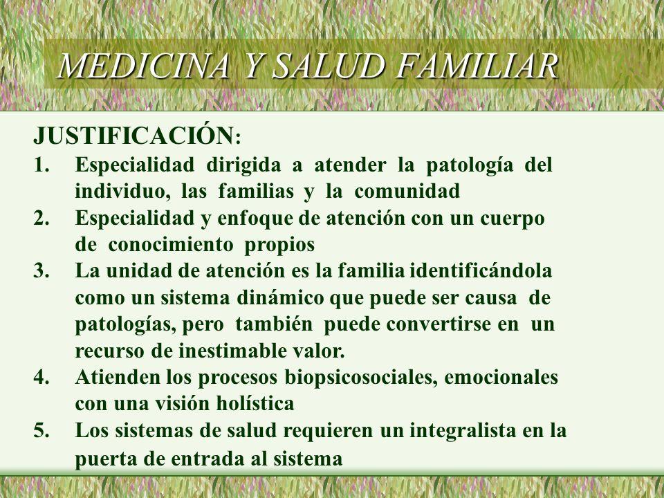 MEDICINA Y SALUD FAMILIAR JUSTIFICACIÓN : 1.Especialidad dirigida a atender la patología del individuo, las familias y la comunidad 2.Especialidad y e