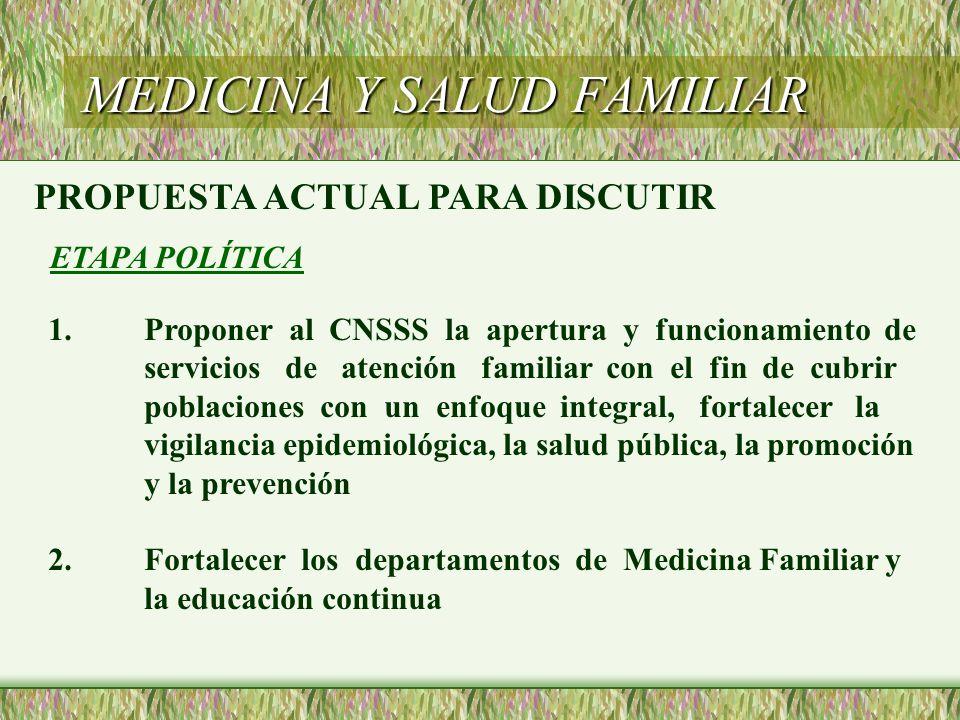 MEDICINA Y SALUD FAMILIAR PROPUESTA ACTUAL PARA DISCUTIR ETAPA POLÍTICA 1.Proponer al CNSSS la apertura y funcionamiento de servicios de atención fami