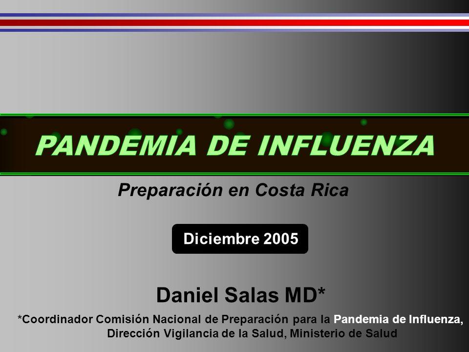 Impacto actual estimadoPreparación en Costa Rica Diciembre 2005 Daniel Salas MD* *Coordinador Comisión Nacional de Preparación para la Pandemia de Influenza, Dirección Vigilancia de la Salud, Ministerio de Salud