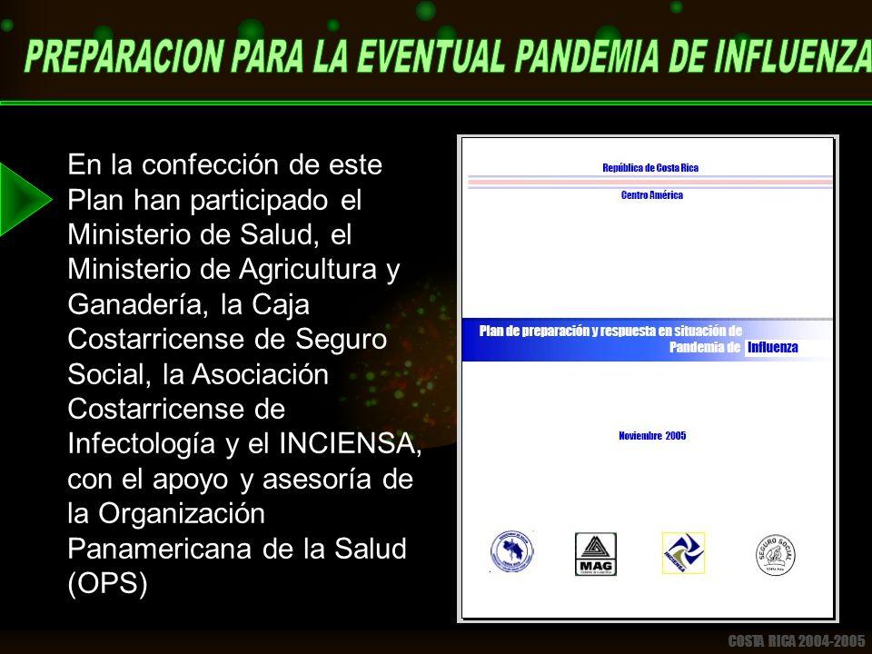 COSTA RICA 2004-2005 En la confección de este Plan han participado el Ministerio de Salud, el Ministerio de Agricultura y Ganadería, la Caja Costarricense de Seguro Social, la Asociación Costarricense de Infectología y el INCIENSA, con el apoyo y asesoría de la Organización Panamericana de la Salud (OPS)