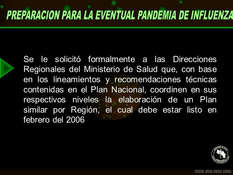 COSTA RICA 2004-2005 Se le solicitó formalmente a las Direcciones Regionales del Ministerio de Salud que, con base en los lineamientos y recomendaciones técnicas contenidas en el Plan Nacional, coordinen en sus respectivos niveles la elaboración de un Plan similar por Región, el cual debe estar listo en febrero del 2006