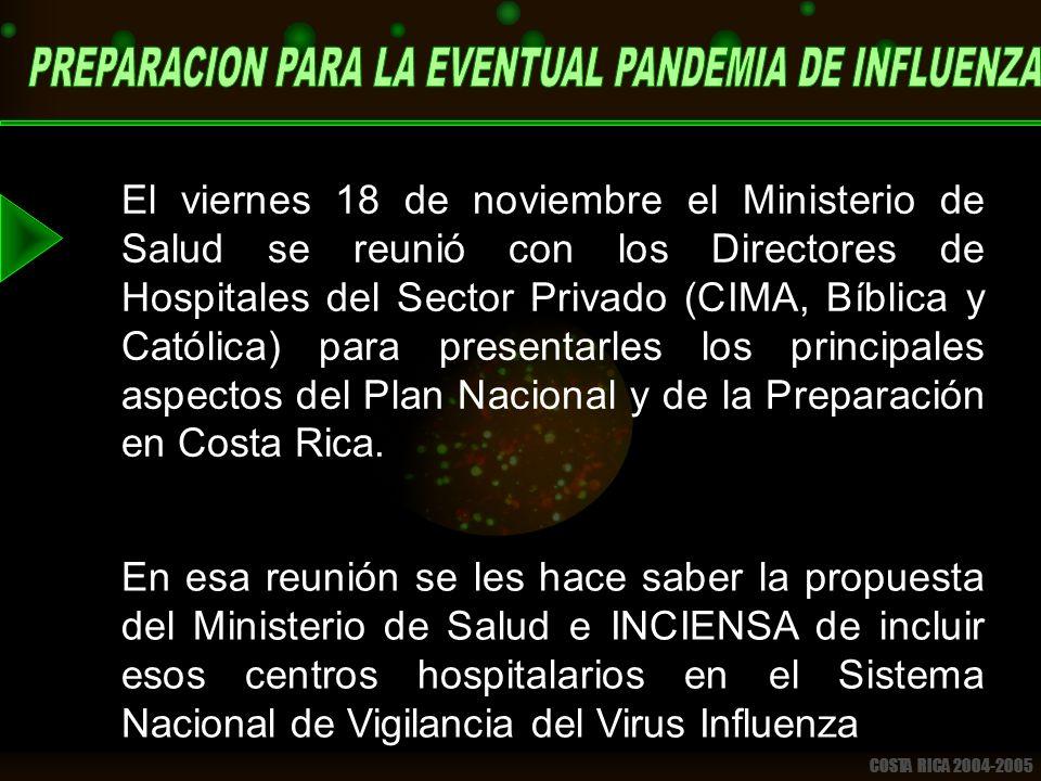 COSTA RICA 2004-2005 El viernes 18 de noviembre el Ministerio de Salud se reunió con los Directores de Hospitales del Sector Privado (CIMA, Bíblica y Católica) para presentarles los principales aspectos del Plan Nacional y de la Preparación en Costa Rica.