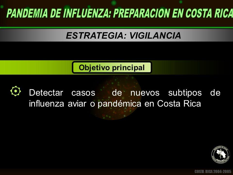 COSTA RICA 2004-2005 ESTRATEGIA: VIGILANCIA Detectar casos de nuevos subtipos de influenza aviar o pandémica en Costa Rica Objetivo principal