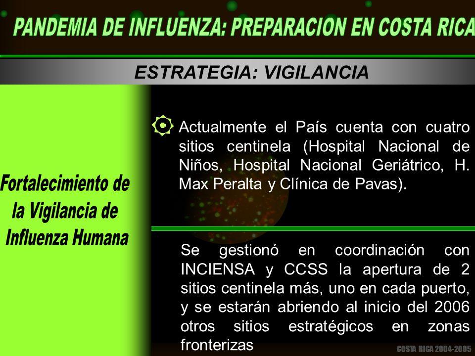 COSTA RICA 2004-2005 ESTRATEGIA: VIGILANCIA Actualmente el País cuenta con cuatro sitios centinela (Hospital Nacional de Niños, Hospital Nacional Geriátrico, H.