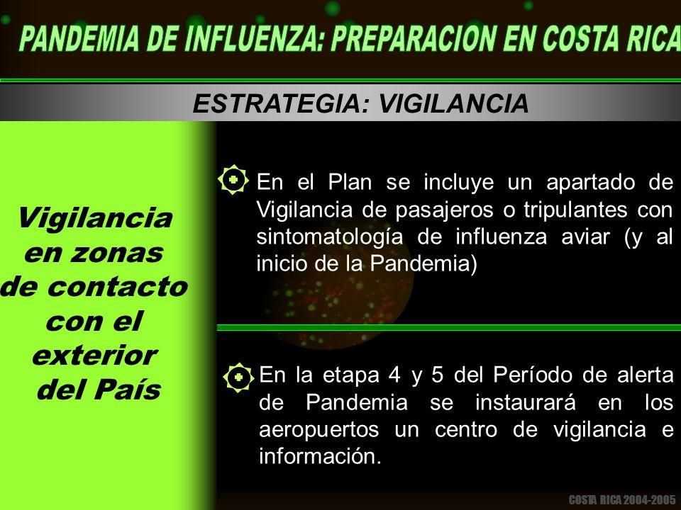 COSTA RICA 2004-2005 ESTRATEGIA: VIGILANCIA En el Plan se incluye un apartado de Vigilancia de pasajeros o tripulantes con sintomatología de influenza aviar (y al inicio de la Pandemia) En la etapa 4 y 5 del Período de alerta de Pandemia se instaurará en los aeropuertos un centro de vigilancia e información.