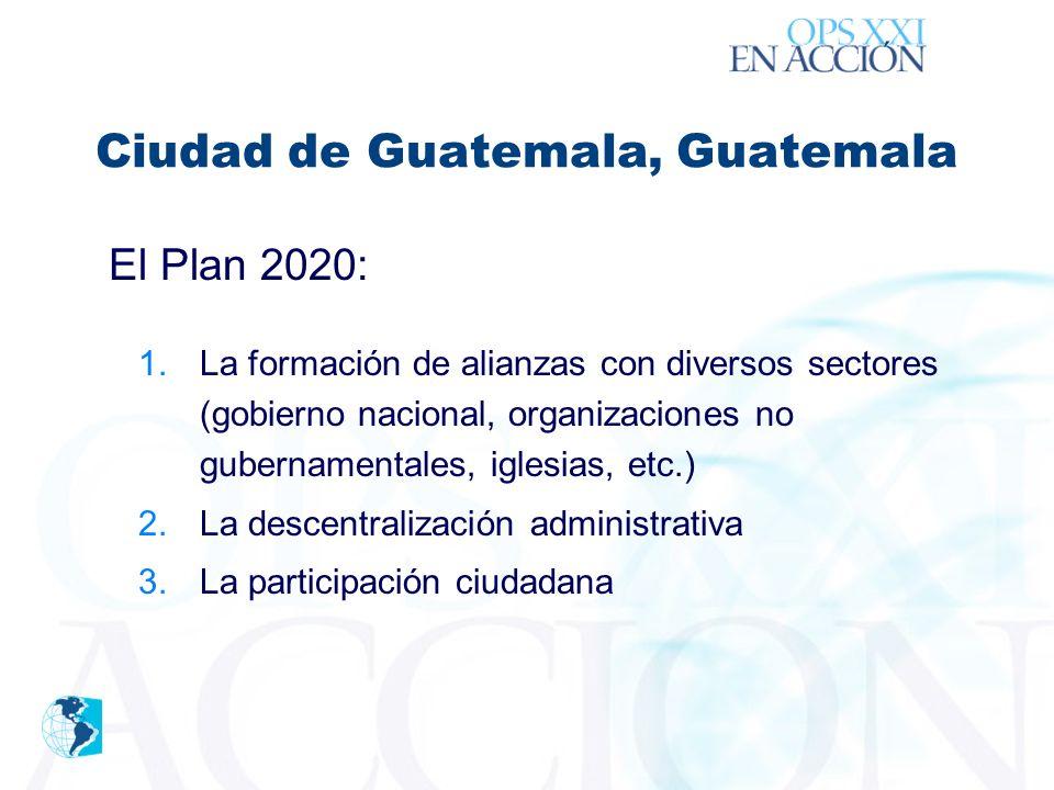 ´ El Plan 2020: 1.La formación de alianzas con diversos sectores (gobierno nacional, organizaciones no gubernamentales, iglesias, etc.) 2.La descentralización administrativa 3.La participación ciudadana Ciudad de Guatemala, Guatemala