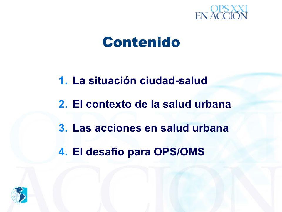 ´ Contenido 1.La situación ciudad-salud 2.El contexto de la salud urbana 3.Las acciones en salud urbana 4.El desafío para OPS/OMS
