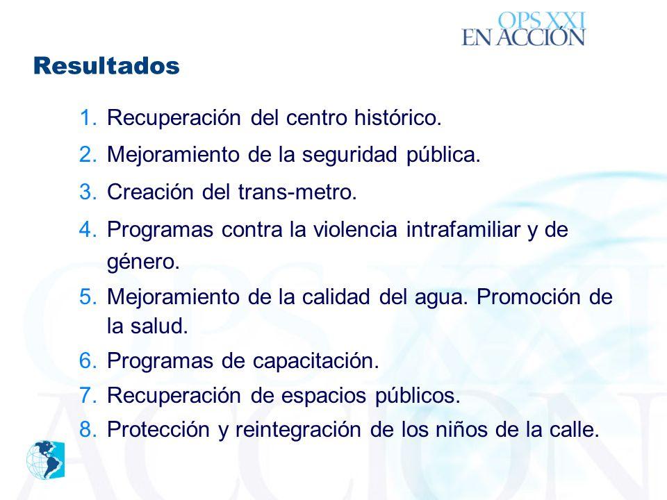 ´ 1.Recuperación del centro histórico. 2.Mejoramiento de la seguridad pública.