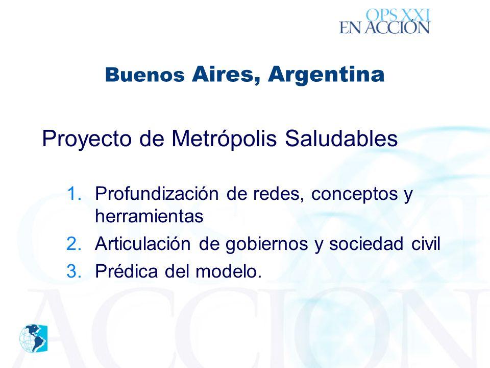 ´ Buenos Aires, Argentina Proyecto de Metrópolis Saludables 1.Profundización de redes, conceptos y herramientas 2.Articulación de gobiernos y sociedad civil 3.Prédica del modelo.