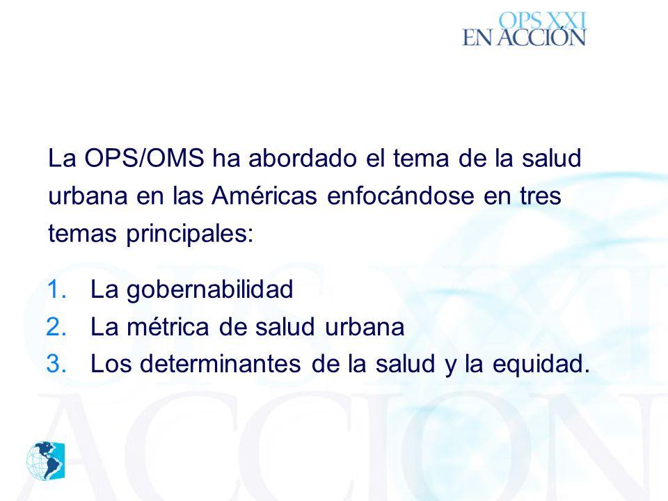 ´ 1.La gobernabilidad 2.La métrica de salud urbana 3.Los determinantes de la salud y la equidad.