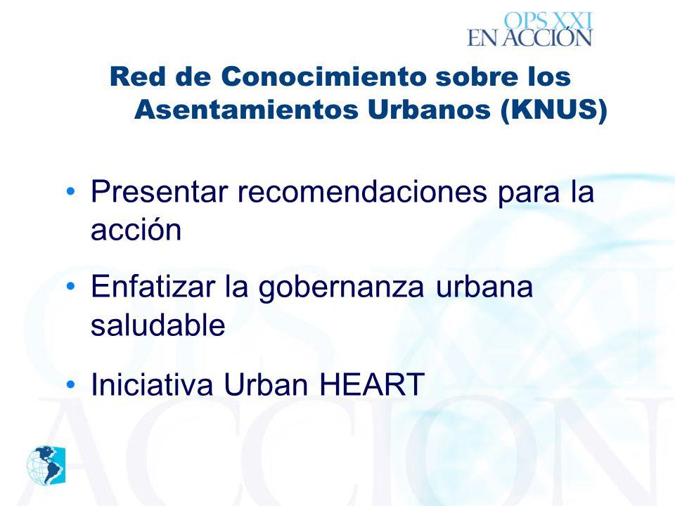 ´ Presentar recomendaciones para la acción Enfatizar la gobernanza urbana saludable Iniciativa Urban HEART Red de Conocimiento sobre los Asentamientos Urbanos (KNUS)