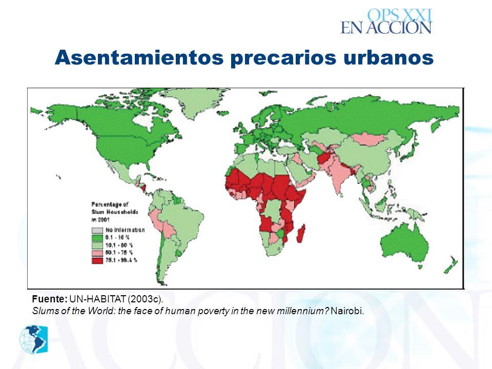 ´ Asentamientos precarios urbanos Fuente: UN-HABITAT (2003c).