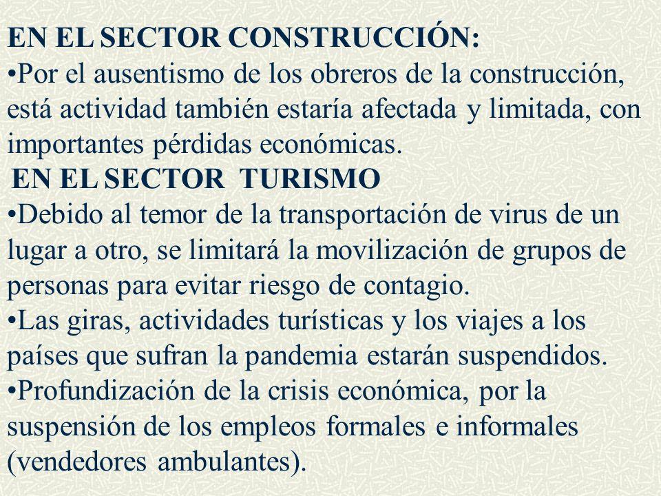 EN EL SECTOR CONSTRUCCIÓN: Por el ausentismo de los obreros de la construcción, está actividad también estaría afectada y limitada, con importantes pé