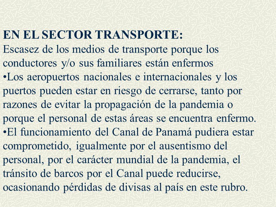 EN EL SECTOR TRANSPORTE: Escasez de los medios de transporte porque los conductores y/o sus familiares están enfermos Los aeropuertos nacionales e int