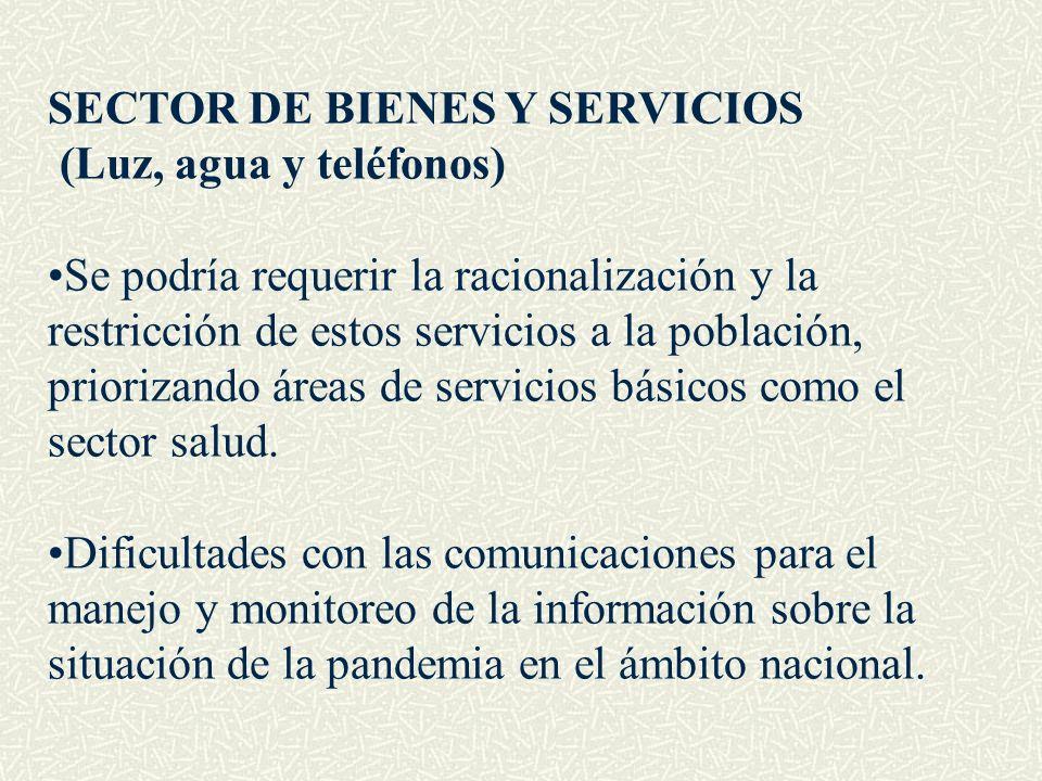 SECTOR DE BIENES Y SERVICIOS (Luz, agua y teléfonos) Se podría requerir la racionalización y la restricción de estos servicios a la población, prioriz