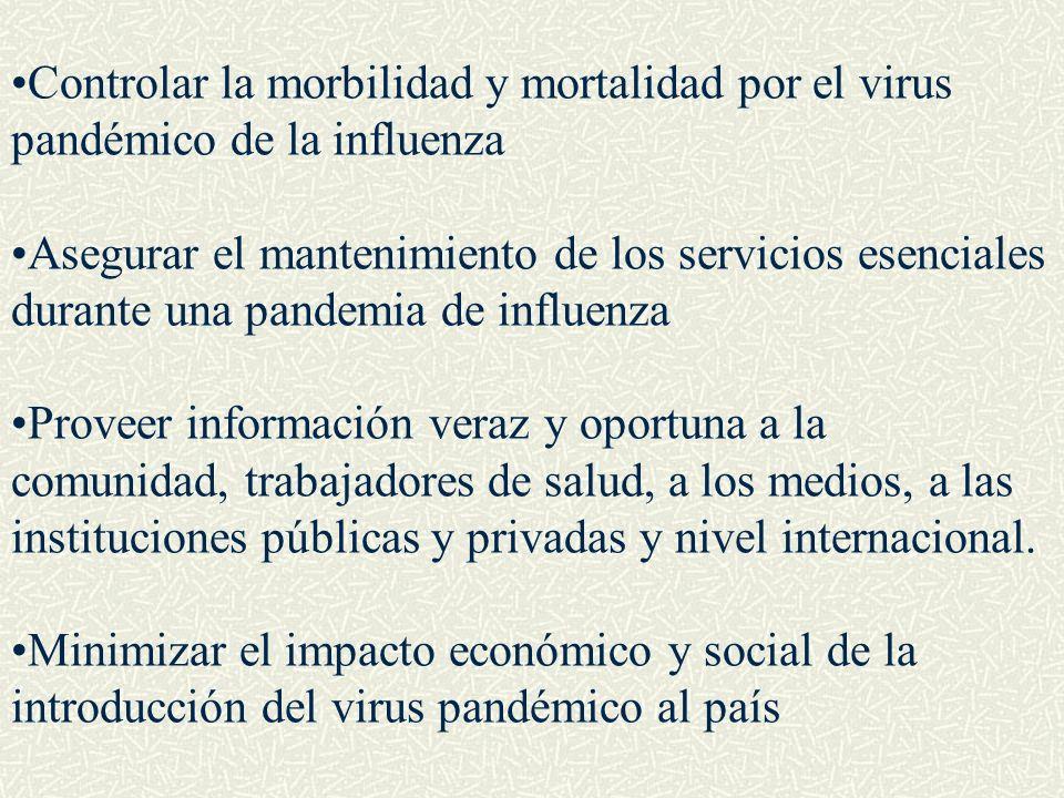 Controlar la morbilidad y mortalidad por el virus pandémico de la influenza Asegurar el mantenimiento de los servicios esenciales durante una pandemia