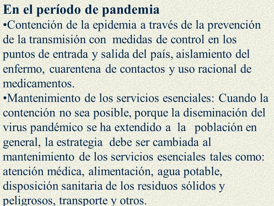En el período de pandemia Contención de la epidemia a través de la prevención de la transmisión con medidas de control en los puntos de entrada y sali