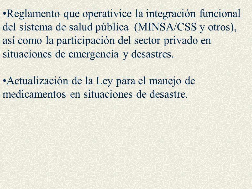 Reglamento que operativice la integración funcional del sistema de salud pública (MINSA/CSS y otros), así como la participación del sector privado en