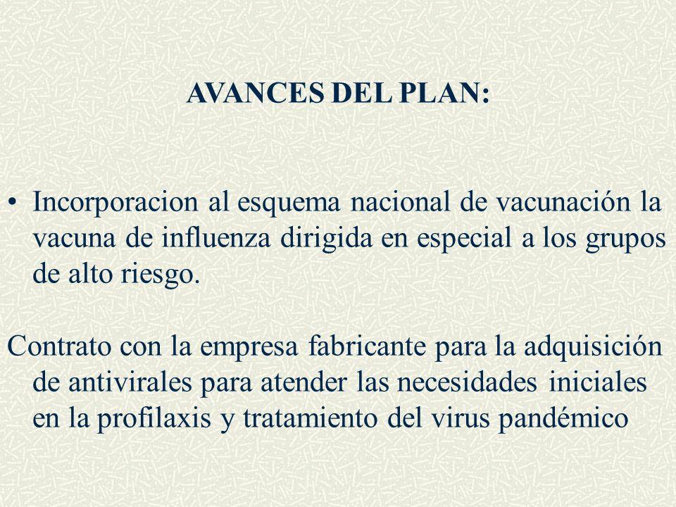 AVANCES DEL PLAN: Incorporacion al esquema nacional de vacunación la vacuna de influenza dirigida en especial a los grupos de alto riesgo. Contrato co