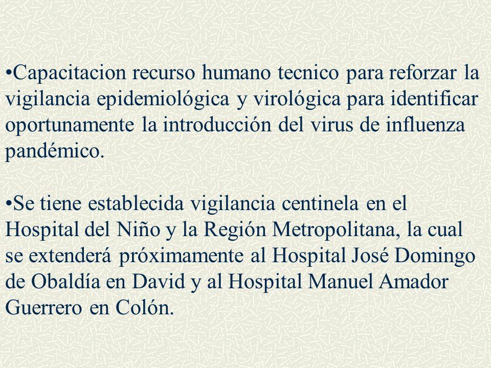 Capacitacion recurso humano tecnico para reforzar la vigilancia epidemiológica y virológica para identificar oportunamente la introducción del virus d