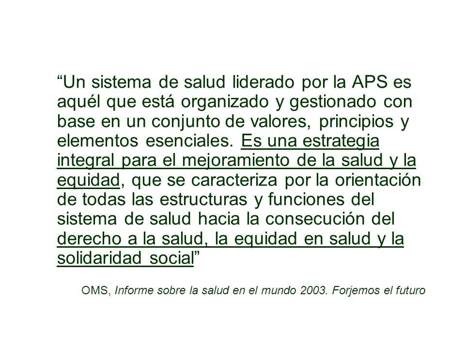 Problemas para el desarrollo de la APS en el proyecto de reforma (IV) La equidad y garantía del derecho: No hay referencia explícita sobre la equidad Falta una visión sobre la progresividad en la garantía del derecho a la salud No define horizonte de tiempo