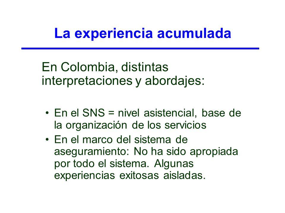 La experiencia acumulada En Colombia, distintas interpretaciones y abordajes: En el SNS = nivel asistencial, base de la organización de los servicios
