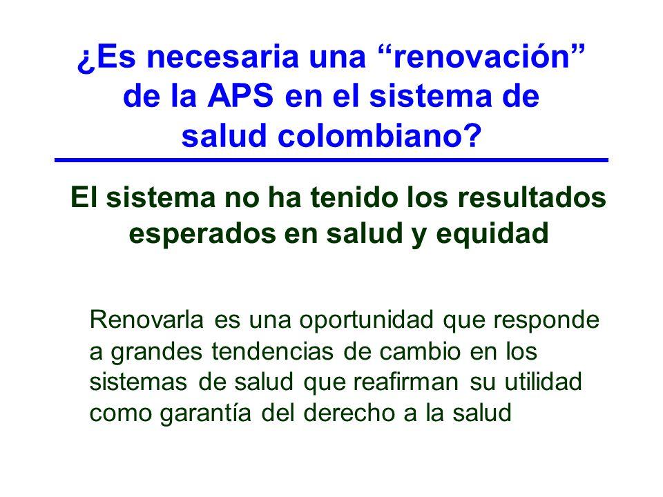 ¿Es necesaria una renovación de la APS en el sistema de salud colombiano? El sistema no ha tenido los resultados esperados en salud y equidad Renovarl