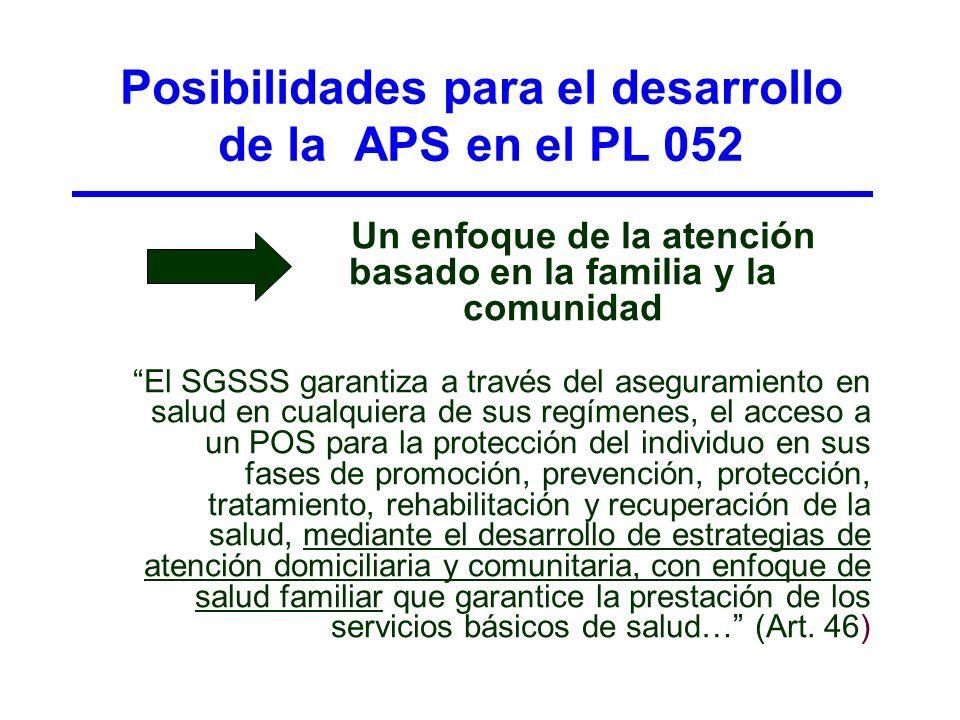 Posibilidades para el desarrollo de la APS en el PL 052 Un enfoque de la atención basado en la familia y la comunidad El SGSSS garantiza a través del