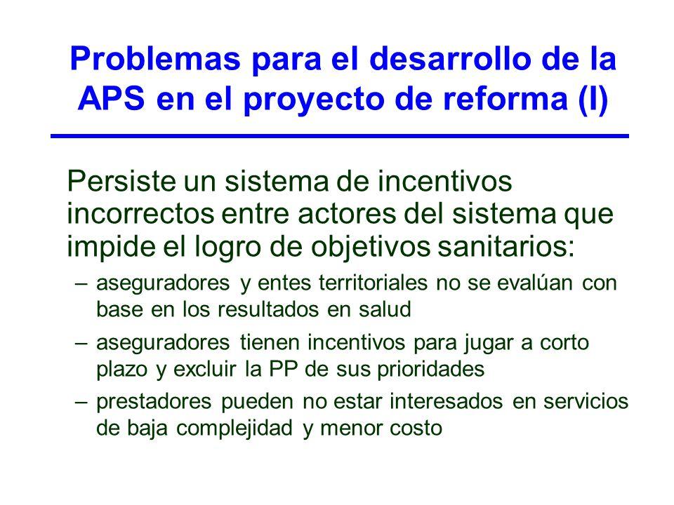 Problemas para el desarrollo de la APS en el proyecto de reforma (I) Persiste un sistema de incentivos incorrectos entre actores del sistema que impid