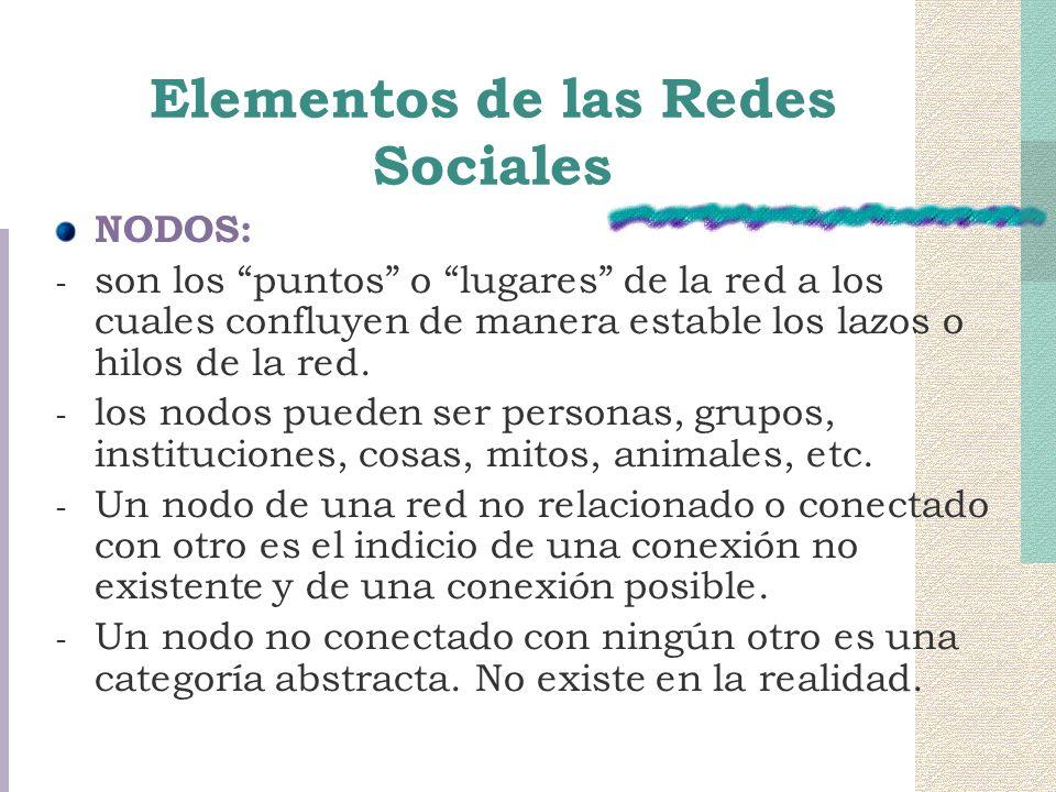 Elementos de las Redes Sociales NODOS: - son los puntos o lugares de la red a los cuales confluyen de manera estable los lazos o hilos de la red. - lo