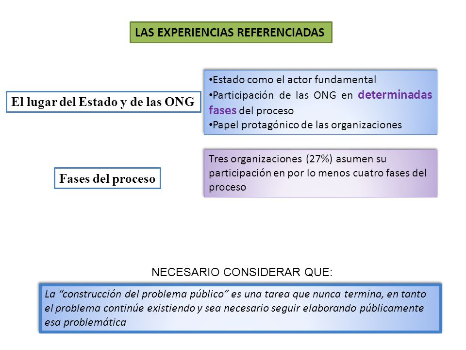 El lugar del Estado y de las ONG Fases del proceso Tres organizaciones (27%) asumen su participación en por lo menos cuatro fases del proceso Estado c