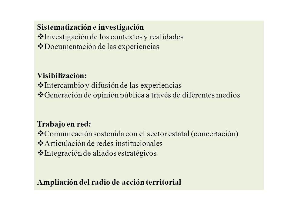Sistematización e investigación Investigación de los contextos y realidades Documentación de las experiencias Visibilización: Intercambio y difusión d