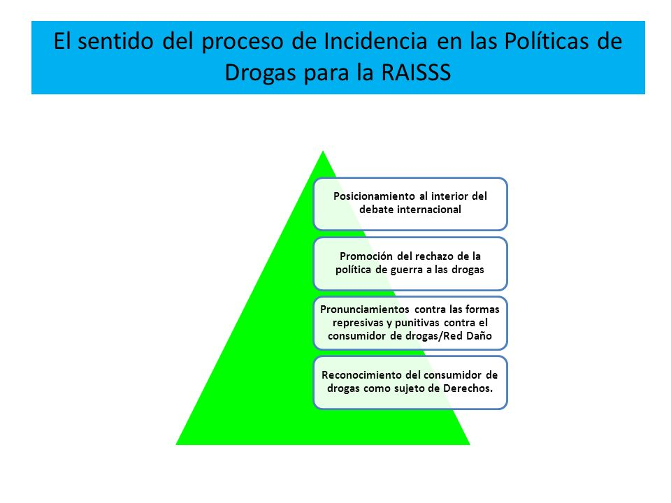 Posicionamiento al interior del debate internacional Promoción del rechazo de la política de guerra a las drogas Pronunciamientos contra las formas re