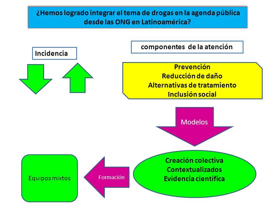 Incidencia componentes de la atención Prevención Reducción de daño Alternativas de tratamiento Inclusión social Modelos Creación colectiva Contextuali