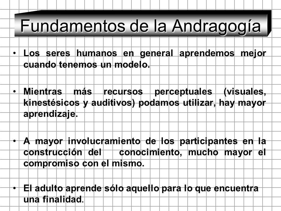 Fundamentos de la Andragogía Los seres humanos en general aprendemos mejor cuando tenemos un modelo. Mientras más recursos perceptuales (visuales, kin