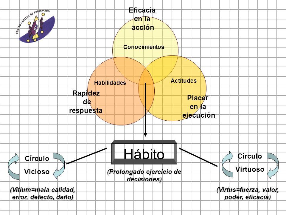 Eficacia en la acción Placer en la ejecución Rapidez de respuesta Actitudes Conocimientos Habilidades Hábito Círculo Vicioso Círculo Virtuoso (Vitium=