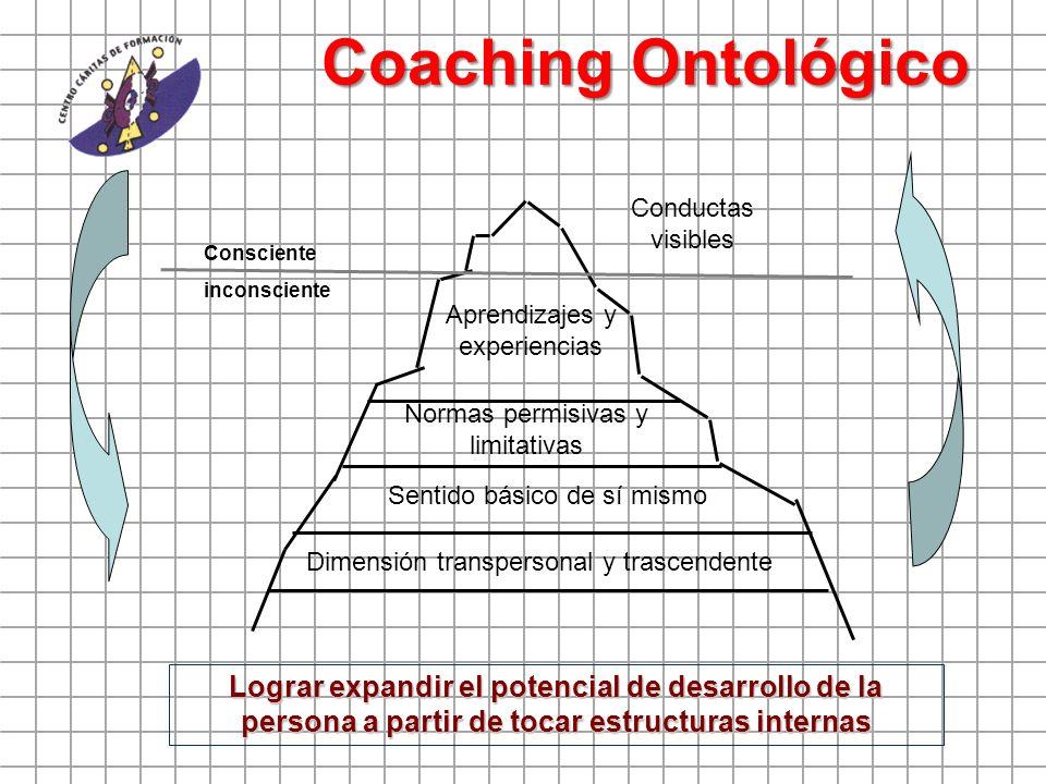 Coaching Ontológico Conductas visibles Aprendizajes y experiencias Normas permisivas y limitativas Sentido básico de sí mismo Dimensión transpersonal