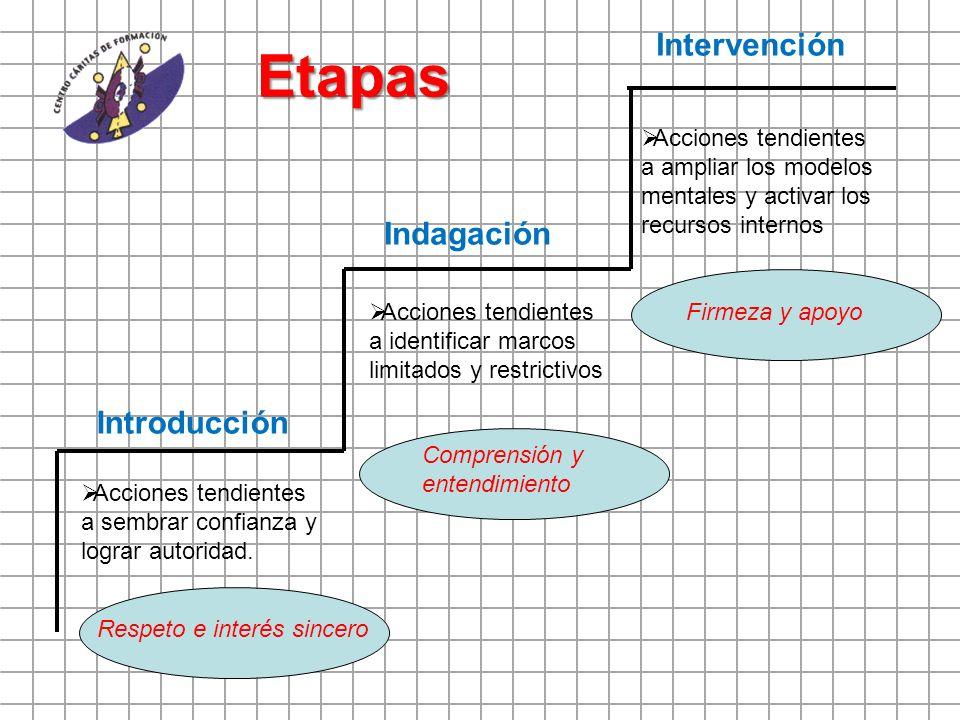 Etapas Introducción Indagación Intervención Acciones tendientes a sembrar confianza y lograr autoridad. Acciones tendientes a identificar marcos limit