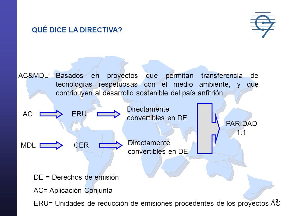 13 QUÉ DICE LA DIRECTIVA? AC&MDL:Basados en proyectos que permitan transferencia de tecnologías respetuosas con el medio ambiente, y que contribuyen a