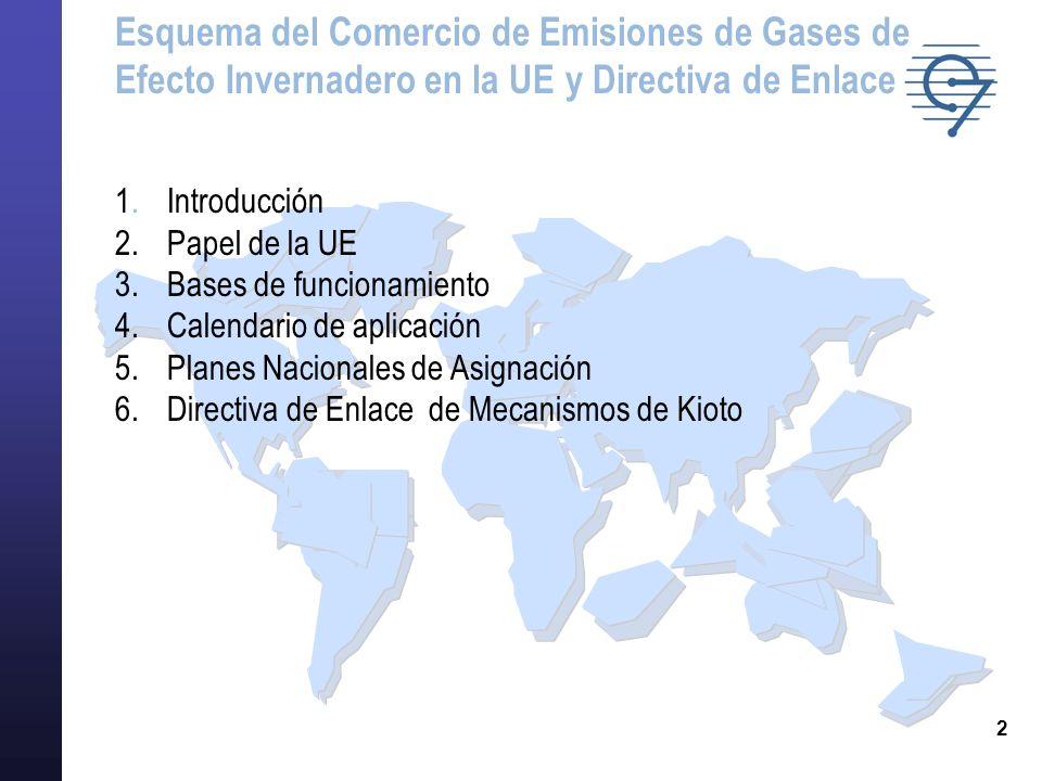 3 TRES NIVELES NORMATIVOS PARA LA GESTIÓN DE EMISIONES DE GEI Nota:GEI: gases de efecto invernadero Naciones Unidas Unión Europea Estados miembros Protocolo de Kioto Conferencias de las Partes Aprobación del Protocolo de Kioto Acuerdo de compromiso de reducción para cada Estado miembro Directiva sobre comercio de derechos de emisión Principales elementos Transposición de la Directiva Plan Nacional de Asignación Países Empresas de la UE incluidas en la Directiva Ámbito de aplicación INTRODUCCIÓN