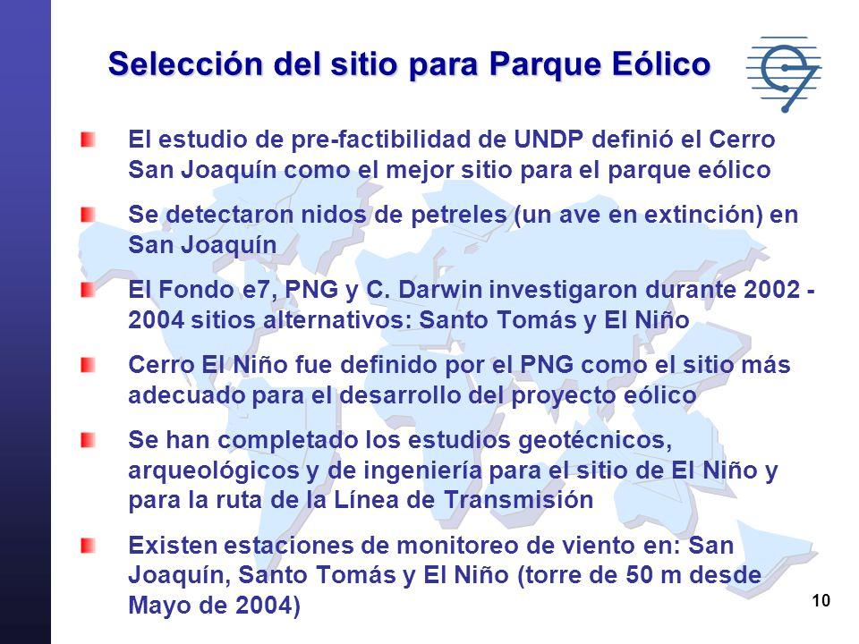 10 Selección del sitio para Parque Eólico El estudio de pre-factibilidad de UNDP definió el Cerro San Joaquín como el mejor sitio para el parque eólic
