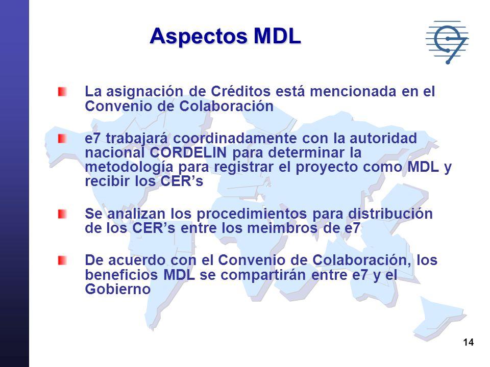 14 Aspectos MDL La asignación de Créditos está mencionada en el Convenio de Colaboración e7 trabajará coordinadamente con la autoridad nacional CORDEL